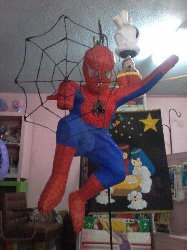 Piñata del hombre araña | arcoiris piñateria | Spiderman ...