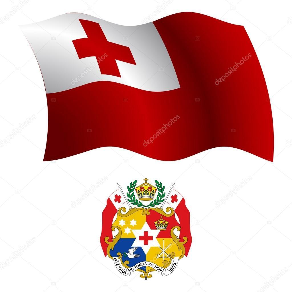 Tonga ondulado bandera y escudo del brazo contra el fondo blanco ...