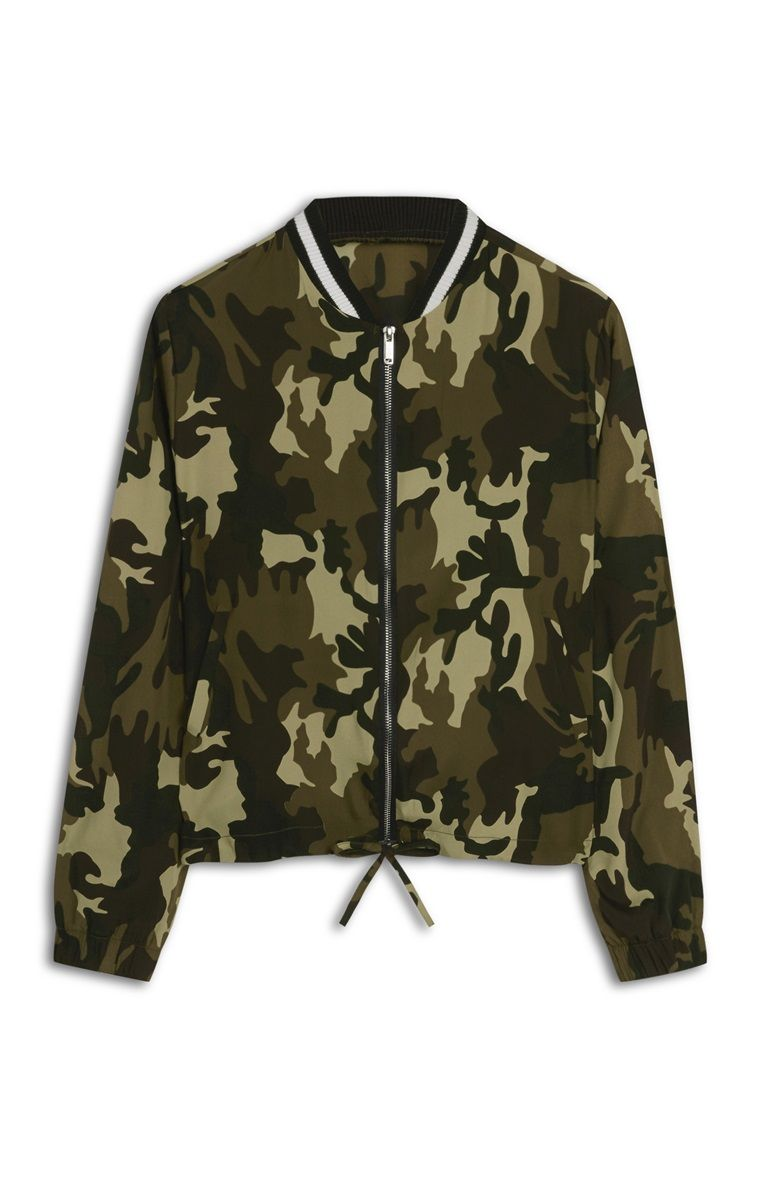 bda84d4f9f7f0 Primark - Khaki Camo Lightweight Bomber Jacket | Clothes <3 en 2019 ...
