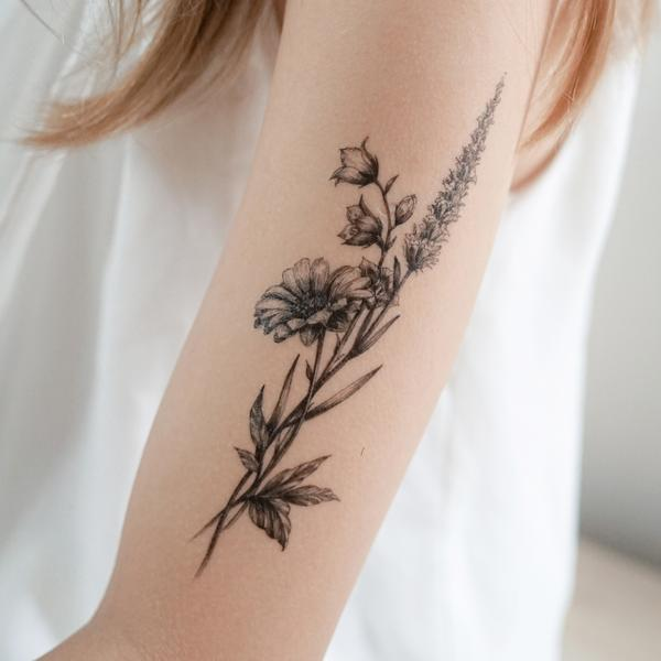 Lavender & Daisy Flower Tattoo (With images) Lavender