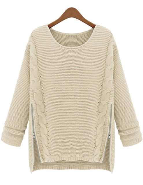 Apricot Long Sleeve Side Zipper Cable Knit Sweater - Sheinside.com ...