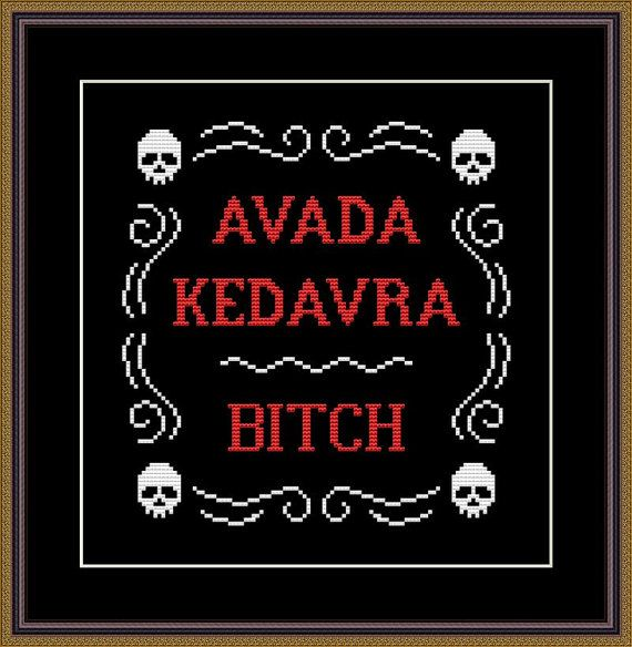 Photo of Harry Potter Funny Cross Stitch PDF Pattern Avada Kedavra – Bitch !