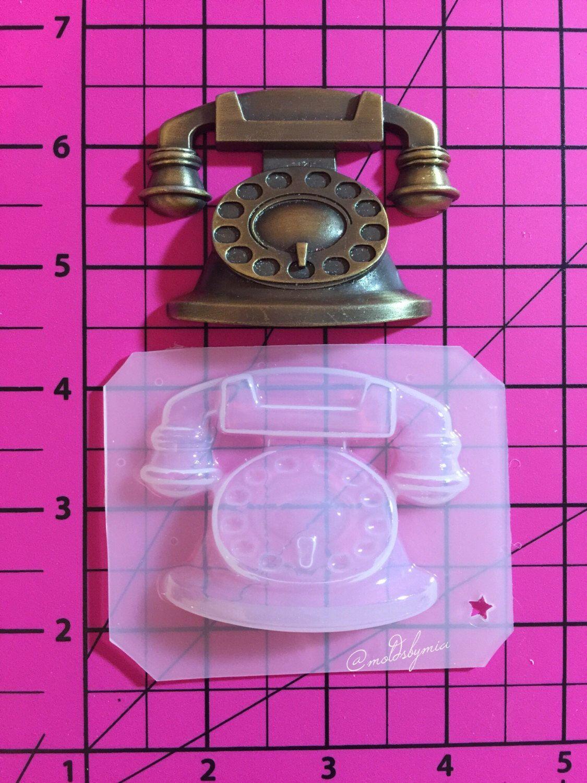 Vintage telephone flexible plastic resin chocolate  mold by MoldsbyMia on Etsy https://www.etsy.com/listing/223232204/vintage-telephone-flexible-plastic-resin