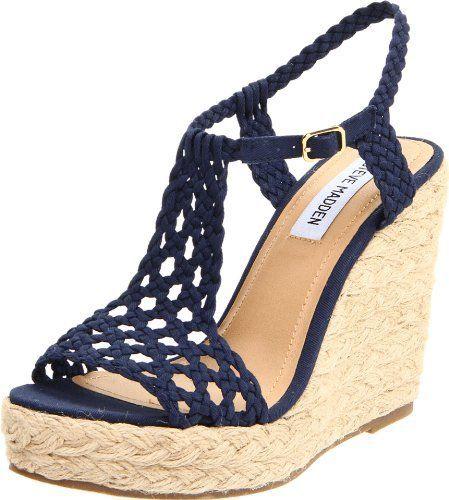 sandalias con plataforma y tiras tejidas color azul