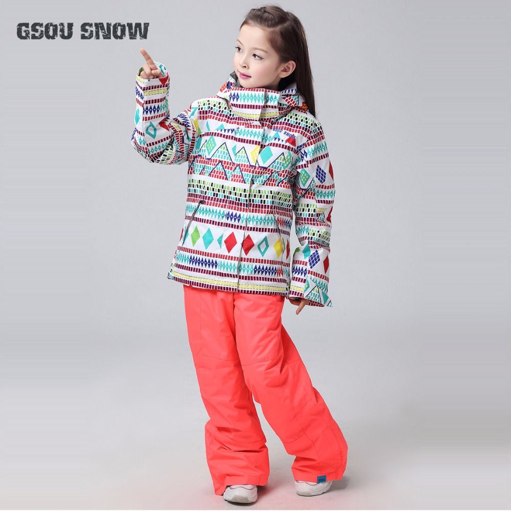 705d897b2 GSOU SNOW Girls Boys Ski Suit Windproof Waterproof Jacket+Pant Super ...