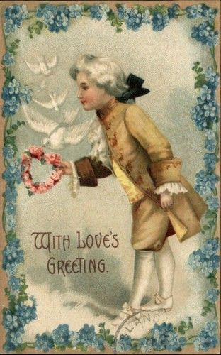 Victorian Man Flower Heart Doves Embossed Love Greeting c1910 Postcard