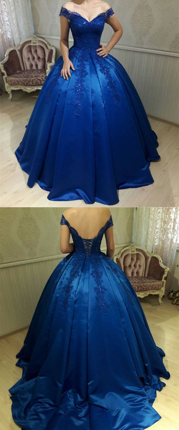 Royal blue satin ball gowns quinceanera dresses v neck offthe