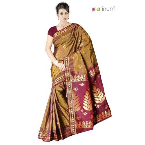 Mode beige Designer Zari Saree PS373  - Online Shopping for Silk Sarees by Platinum