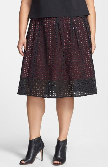 d7063fb102 Sejour Eyelet Cotton Pleated Midi Skirt (Plus Size) available at #Nordstrom