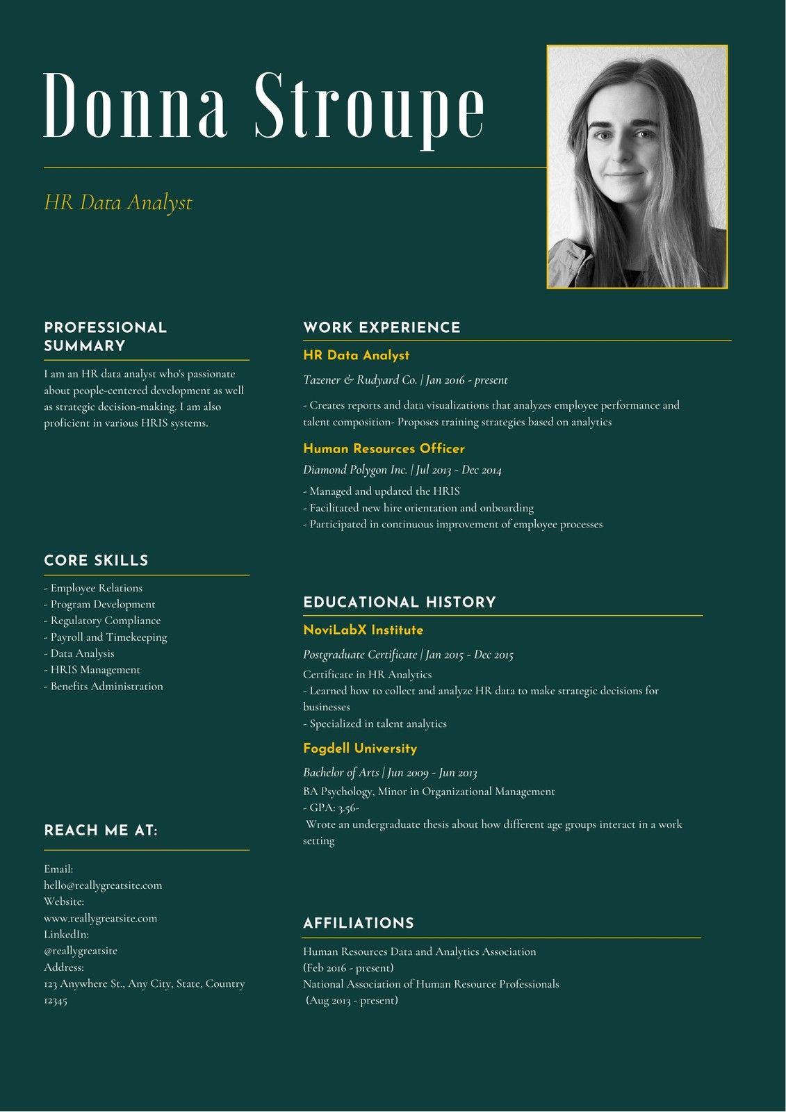 Green And Yellow Corporate Hr Analytics Specialist Resume Templates By Canva Ad Corporate Paid Hr Green Data Visualization Resume Templates Resume
