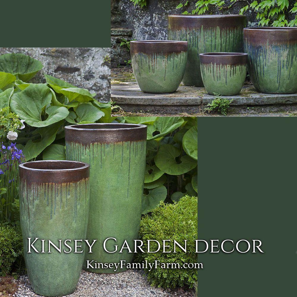 Kinsey Garden Decor Art Pottery Indoor Outdoor Bronze Green Tall Short Colorful Plant Container Gardening Diy Container Gardening Container Gardening Flowers