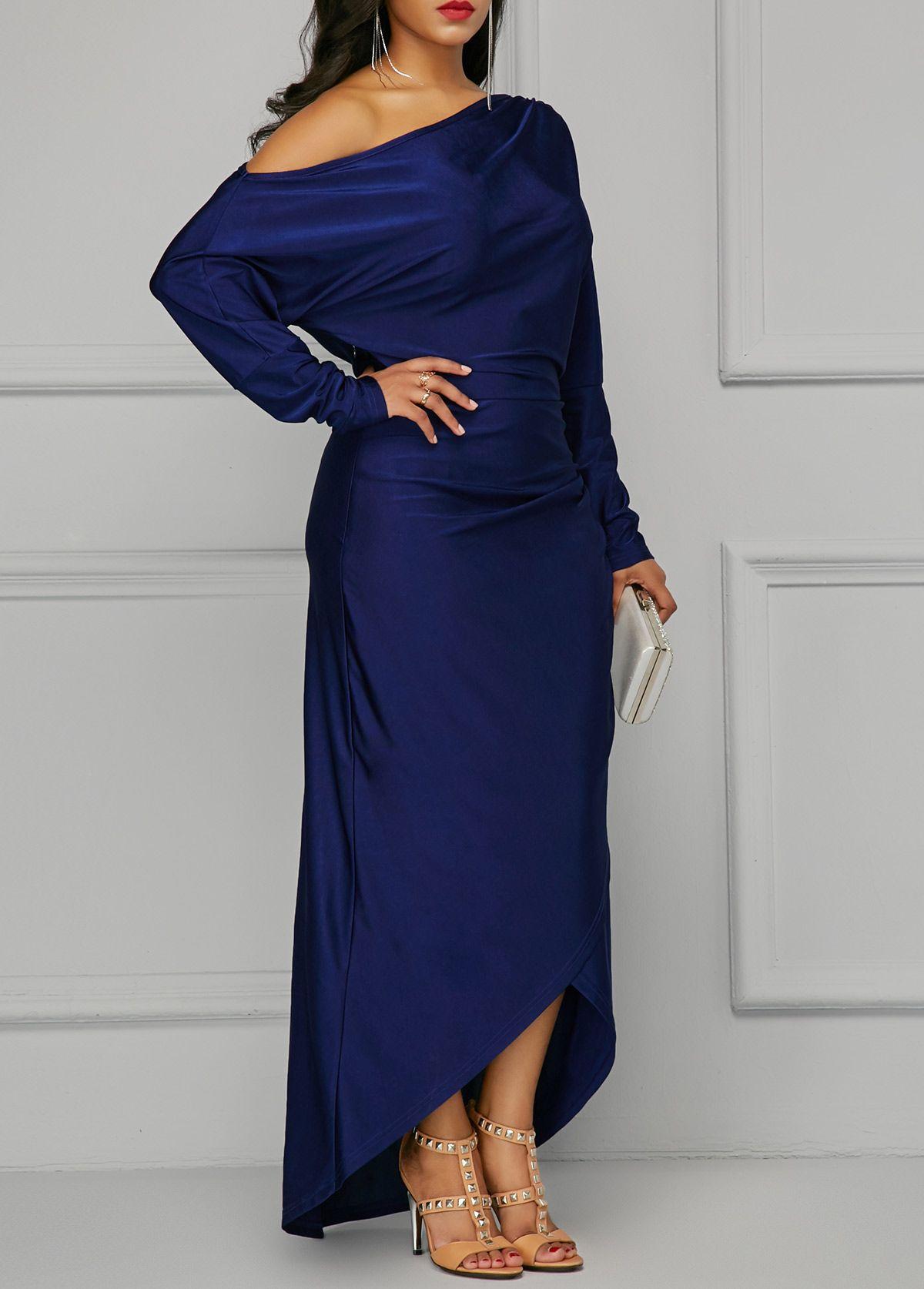 Skew neck long sleeve maxi dress wedding planning pinterest