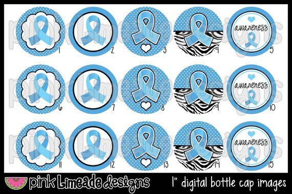 Light Blue Ribbon - Prostate Cancer & Trisomy 18 Awareness - 1 inch Digital Bottle Cap Images - High Resolution Digital Collage. $2.00, via Etsy.