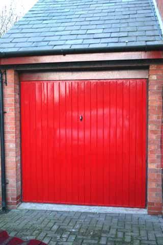 Bright Ruby Red Garage Door Painting Metal Doors Metal Doors Exterior Garage Door Insulation