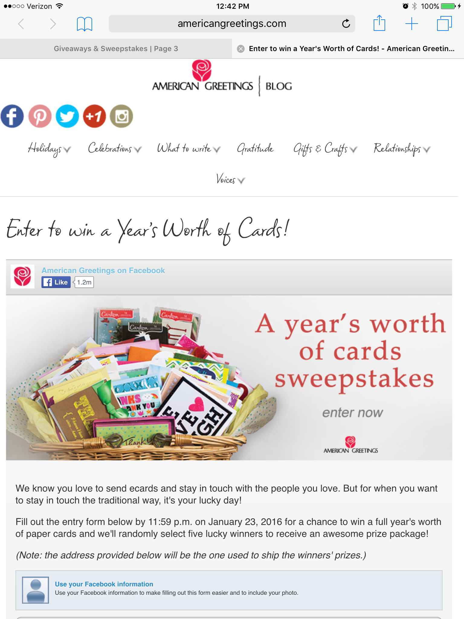 Enter To Win A Years Worth Of Free Cards From Americangreetings