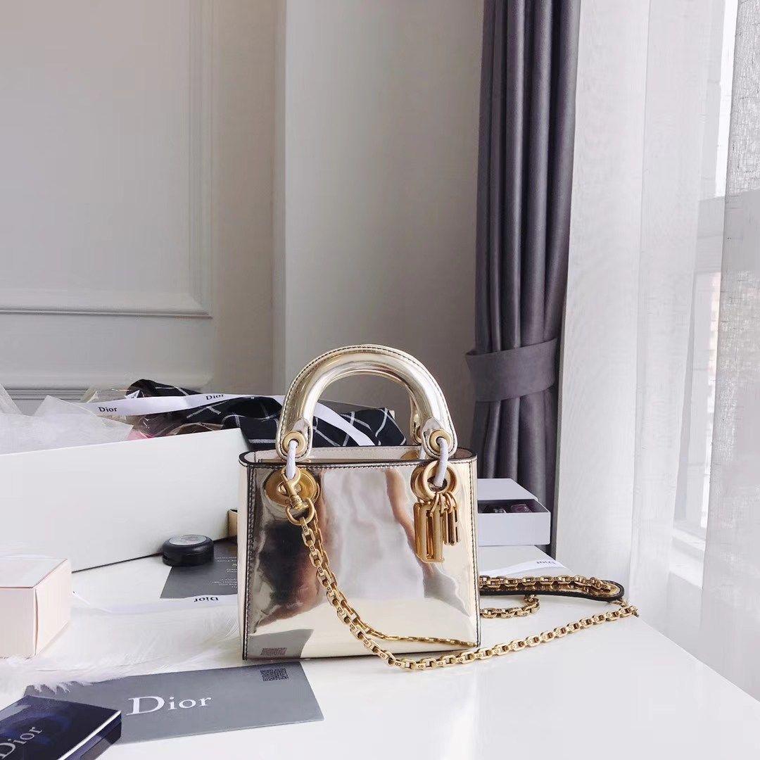 edbac0ad00459b Dior Mini Lady Dior bag - Silver metallic mirror calfskin | couture ...