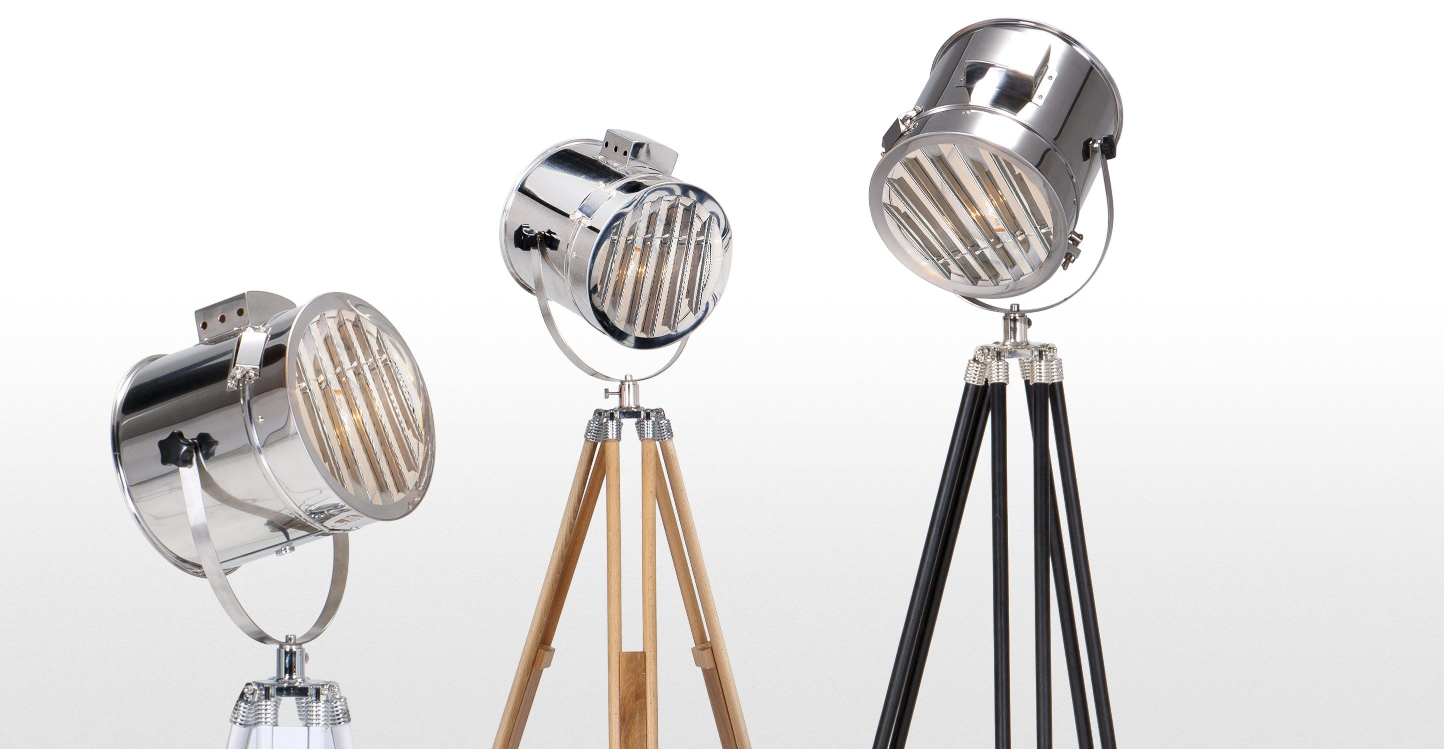 The adjustable Alfred Tripod Floor Lamp draws inspiration from vintage Hollywood set lights.
