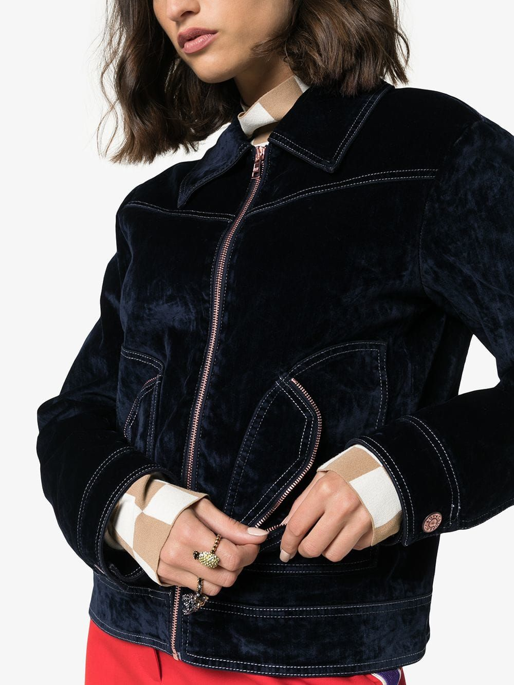 Pin by yu on 作业 Velvet jacket, See by chloe, Jackets