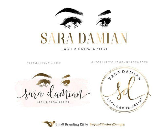 Photo of Rose Gold Lash Logo Design, Lash Extension Logo, Premade Eyelash Logo Kit, Studio Logo, Brows Logo, Makeup Logo, Beauty salon, Logo Set 164