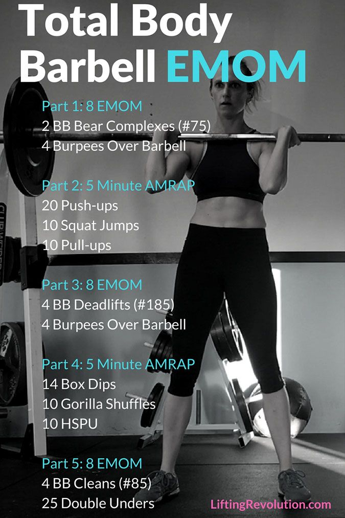 Full body barbell emom workout lifting revolution