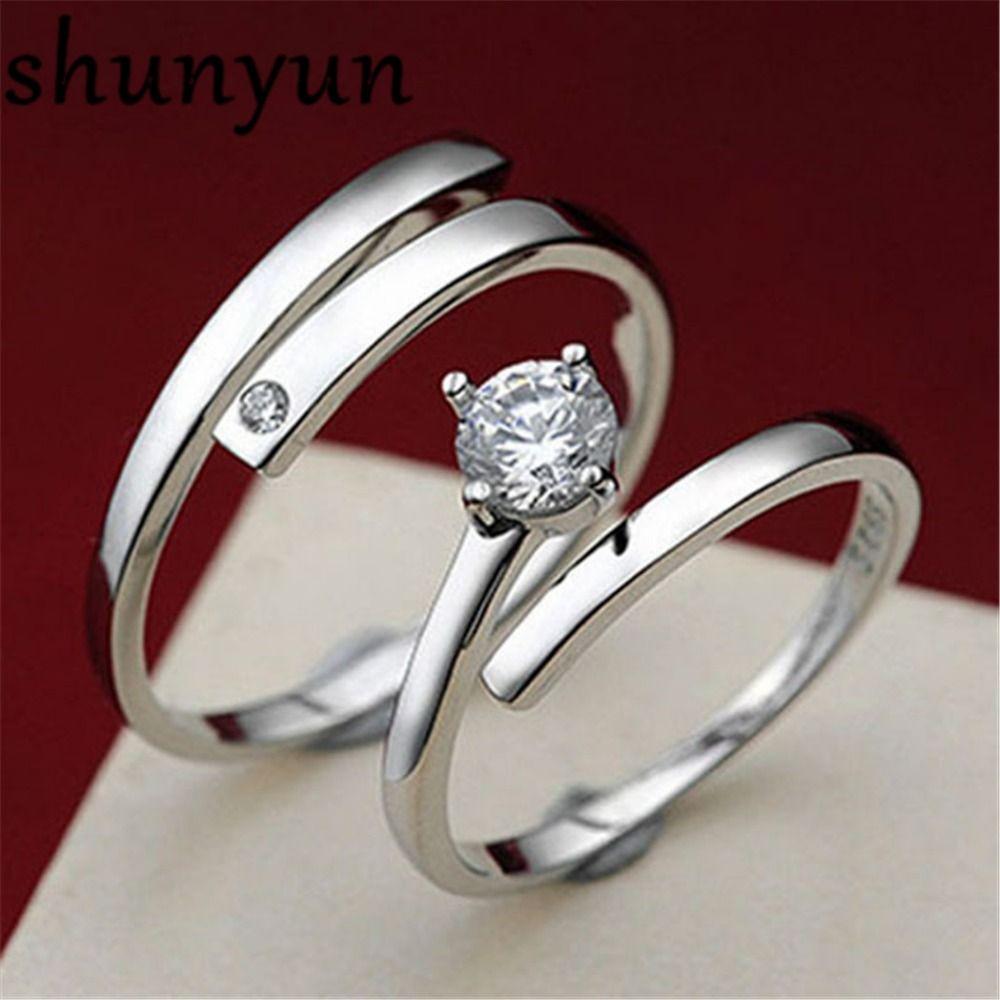 f015635863 shunyun 2pcs 925 Sterling Silver Shining Zircon Couple Ring Wedding Lover  Birthday Valentine's Day Gift Jewelry Girls Women Men