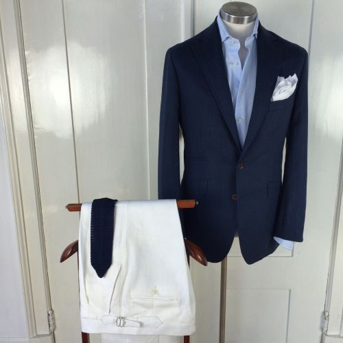 newtailor:Casual; linnen blue and white with Giro Inglese shirt