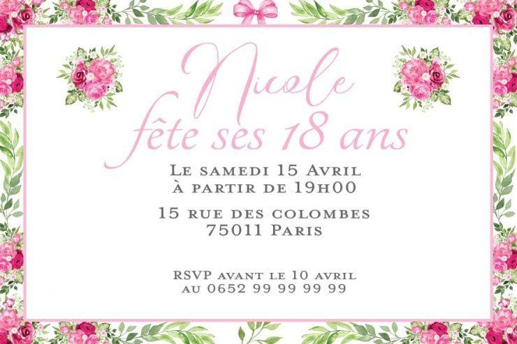 10 Personnalisé Fête D/'Anniversaire Invitations-Rustique Vintage Rose Floral