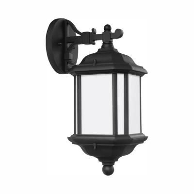 Sea Gull Lighting Kent 1 Light Black Outdoor 15 In Wall Lantern Sconce With Led Bulb 84530en3 12 Outdoor Wall Lantern Wall Lantern Outdoor Wall Sconce