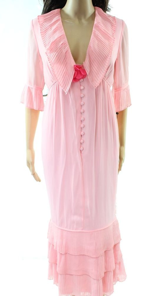 b9b6d23795 Karl Lagerfeld NEW Pink Womens Size 10 Pleated Button Down Gown Dress $204  928 #fashion #clothing #shoes #accessories #womensclothing #dresses (ebay  link)