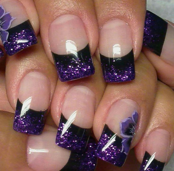 Lovely Flower Purple Nail Design, Flower Purple, black line. - Image Result For Purple French Tip Acrylic Nails My Style