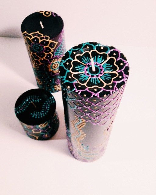 Henna Painted Black Pillar Candle Metallic Gold Teal Purple
