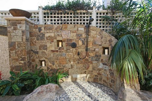 Tropical Stone Outdoor Shower A Tropical Outdoor Shower With Small, Smooth  Stoned Floor And Stone
