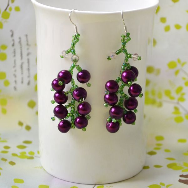 Diy Fruit Crafts How To Make Beautiful Beaded Grape Earrings At