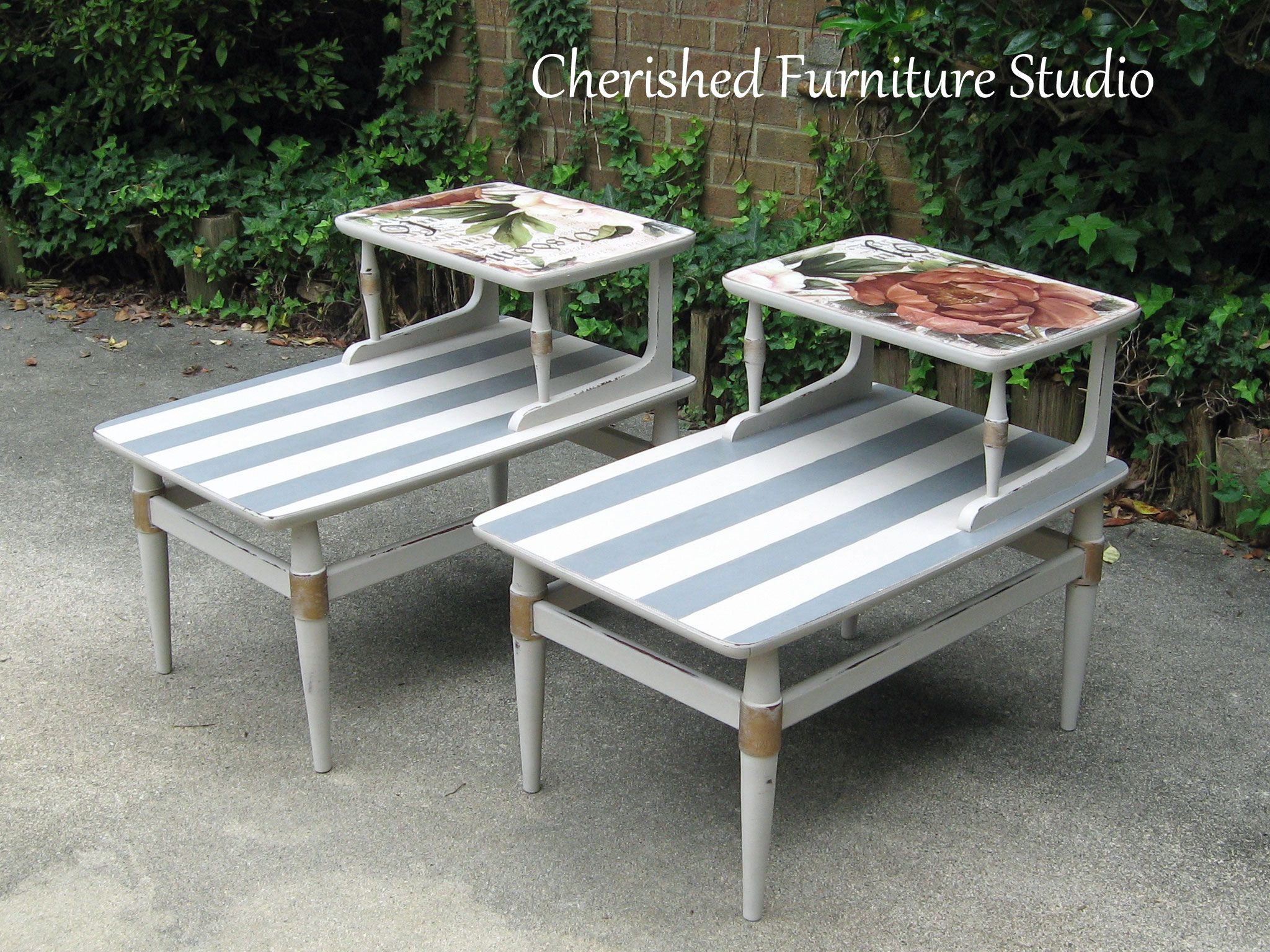 Two Tiered Vintage Flair Decoupaged End Tables