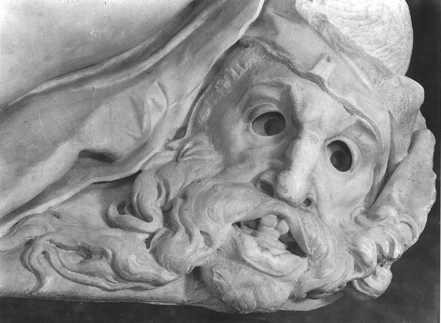 Michelangelo: self-portrait as a mask from the Day and Night group in Sagrestia Nuova, one of the Medici Chapels in the Basilica of San Lorenzo, Florence (1520s or 1530s). From John T. Paoletti, Michelangelo's Masks (The Art Bulletin, Vol. 74, No. 3, pp. 423-440, Sep. 1992).