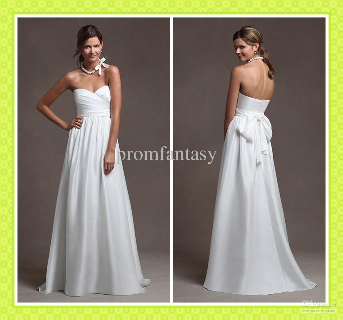 2016 Custom Made Simple Beach Wedding Dresses Casual Sash