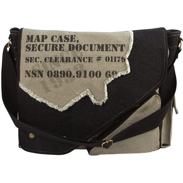 Black Grey Vintage 2-Tone Imprinted Map Case Messenger Bag ($36) ❤ liked on Polyvore featuring bags, messenger bags, courier bag, vintage messenger bag, zippered messenger bag, camouflage messenger bag and cotton canvas messenger bag