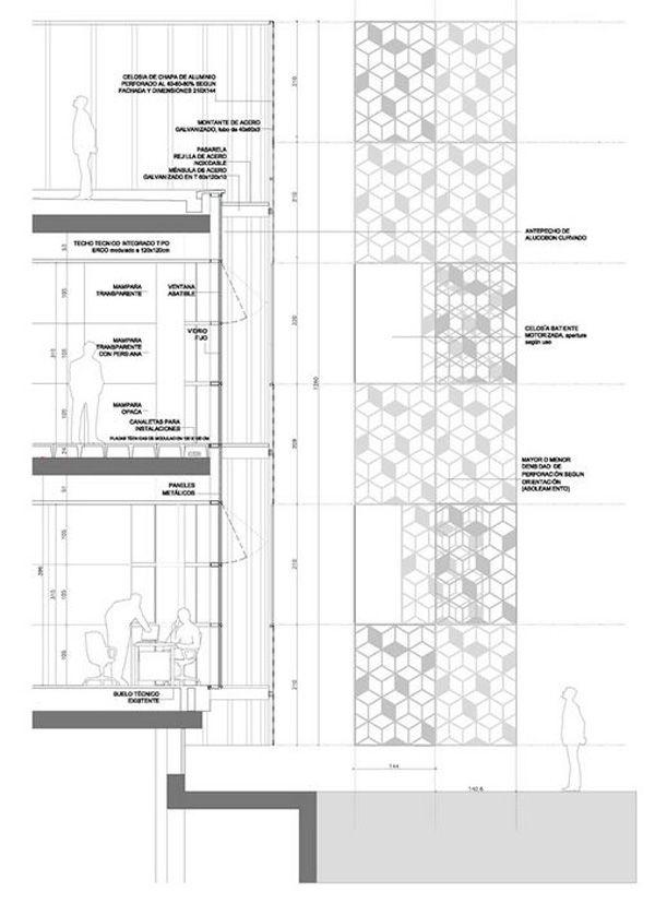 Herreros Arquitectos, Arganda del Rey, Spain, Hispasat, communication satellites, lattice-skin, aluminum skin, adaptable façade, circular-plan building, renovation, re-use