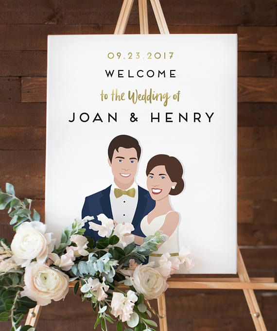 Funny Wedding Entrance Ideas: Wedding Welcome Sign With Portrait, Fun Wedding Sign