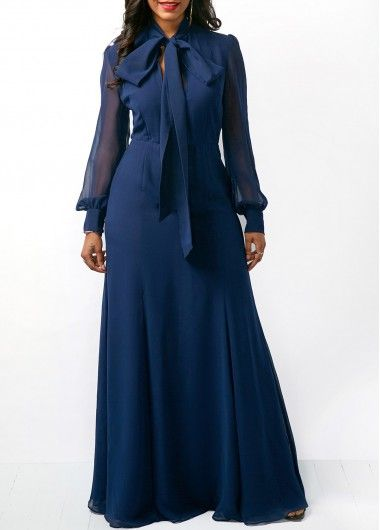 00ab7954237 Tie Neck Mesh Panel Side Slit Maxi Dress