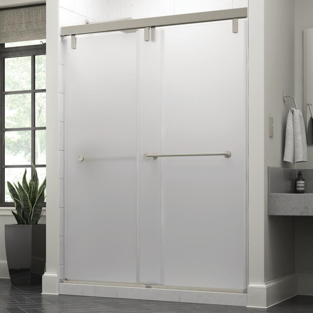 Delta Crestfield 60 X 71 1 2 In Frameless Mod Soft Close Sliding Shower Door In Nickel With 3 8 In 10mm Niebla Glass Sd3441845 Shower Doors Shower Door Handles Frameless Sliding Shower Doors