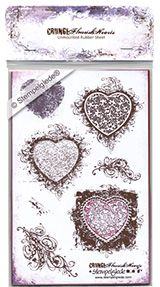 © Stempelglede® Grunge Flourish Hearts. Unmounted Rubber Stamp Sheet. The text on the webpage is in Norwegian, for International orders, please visit visit: http://www.stempelglede.com/international.html