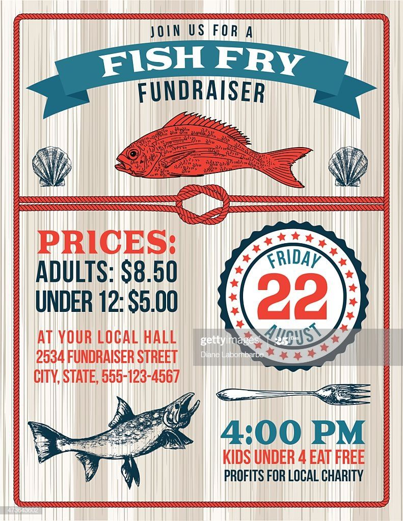 Fish Fry Fundraiser Template With A Nautical Theme There Are Fish In 2020 Fried Fish Flyer Fundraising