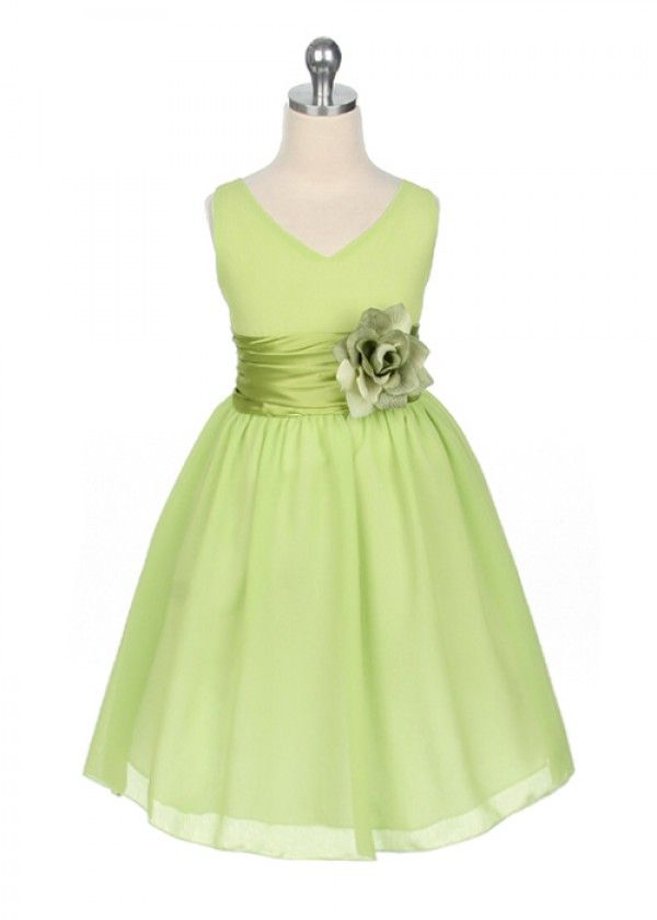 Green Flower Girl Dresses | Home » Lime Green Chiffon Flower Girl Dress