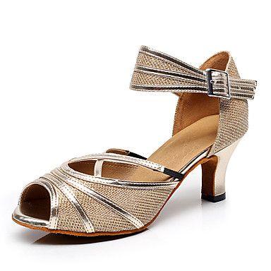 38 49 Women S Latin Shoes Salsa Shoes Flocking Sandal Heel Buckle Stiletto Heel Non Customizable Dance Shoes Black Gold Purple Indoor Salsa Shoes Latin Shoes Shoes