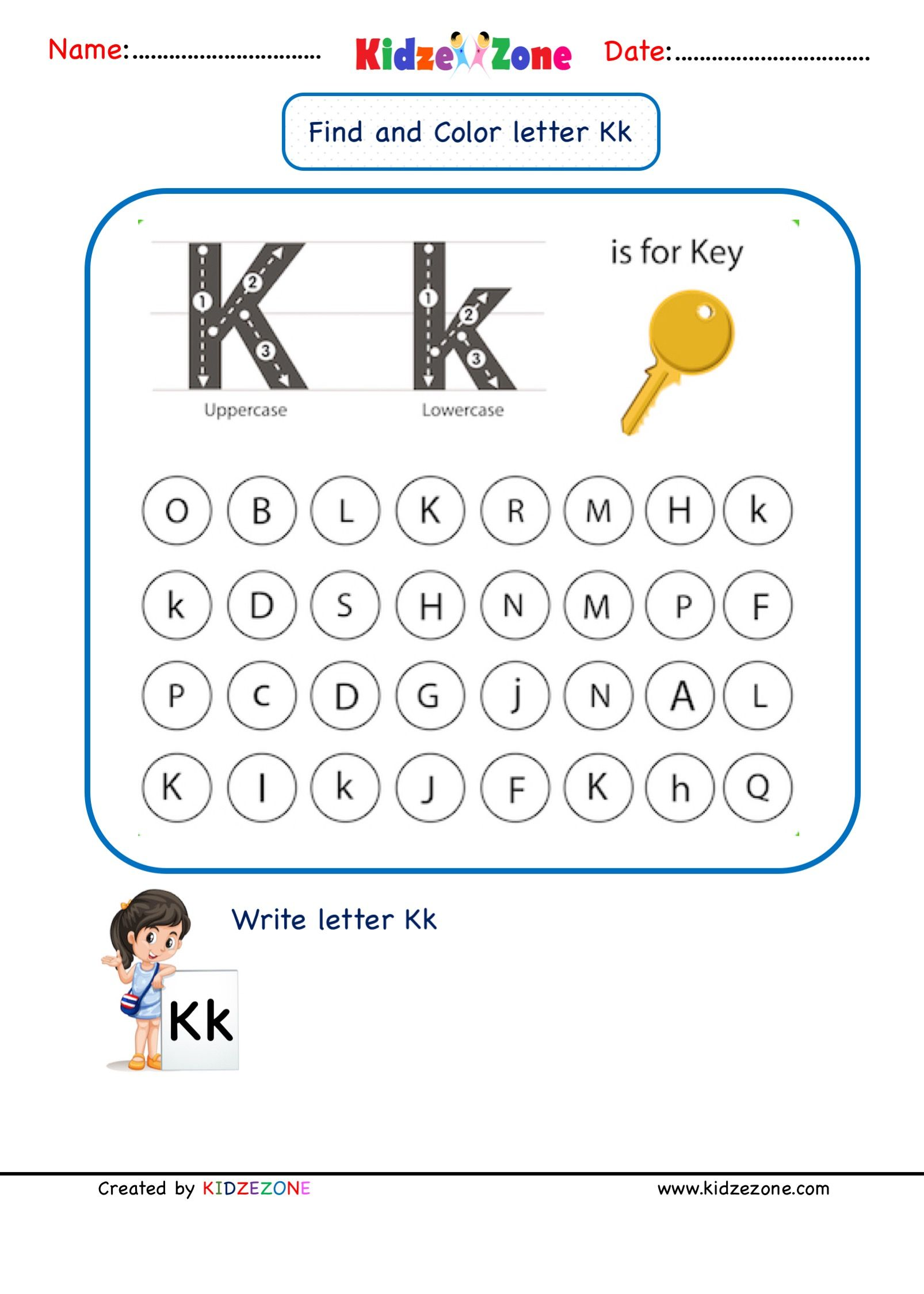 Letter K Find And Color Worksheet In