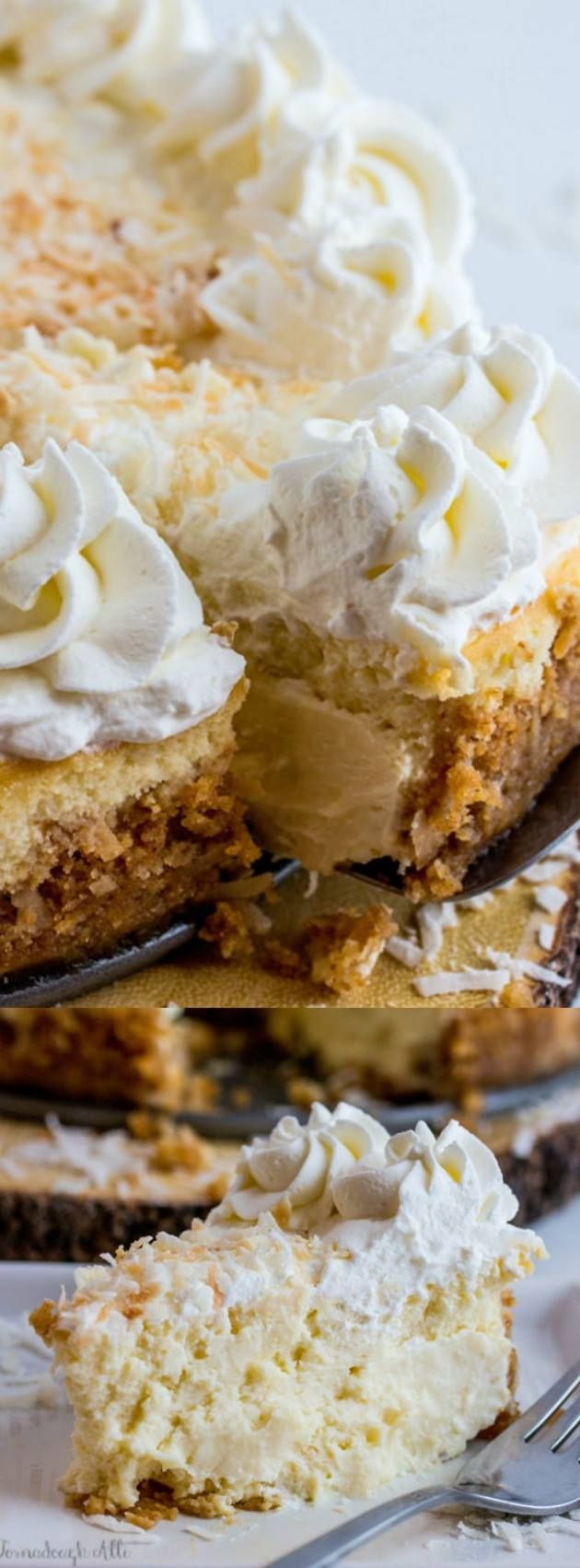 This Coconut Cream Cheesecake from Tornadough Alli is creamy, rich, and delicious. It takes the traditional coconut pie and gives it a super fun twist!