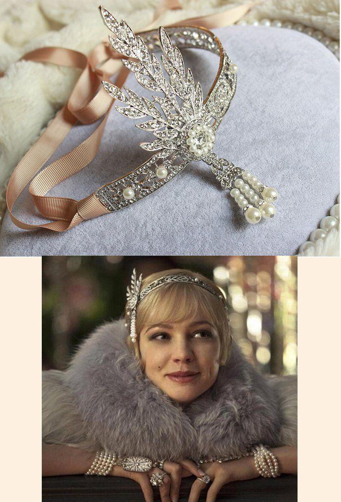 The Great Gatsby Flapper Rhinestone Vintage 1920s Daisy Tiara - Silver