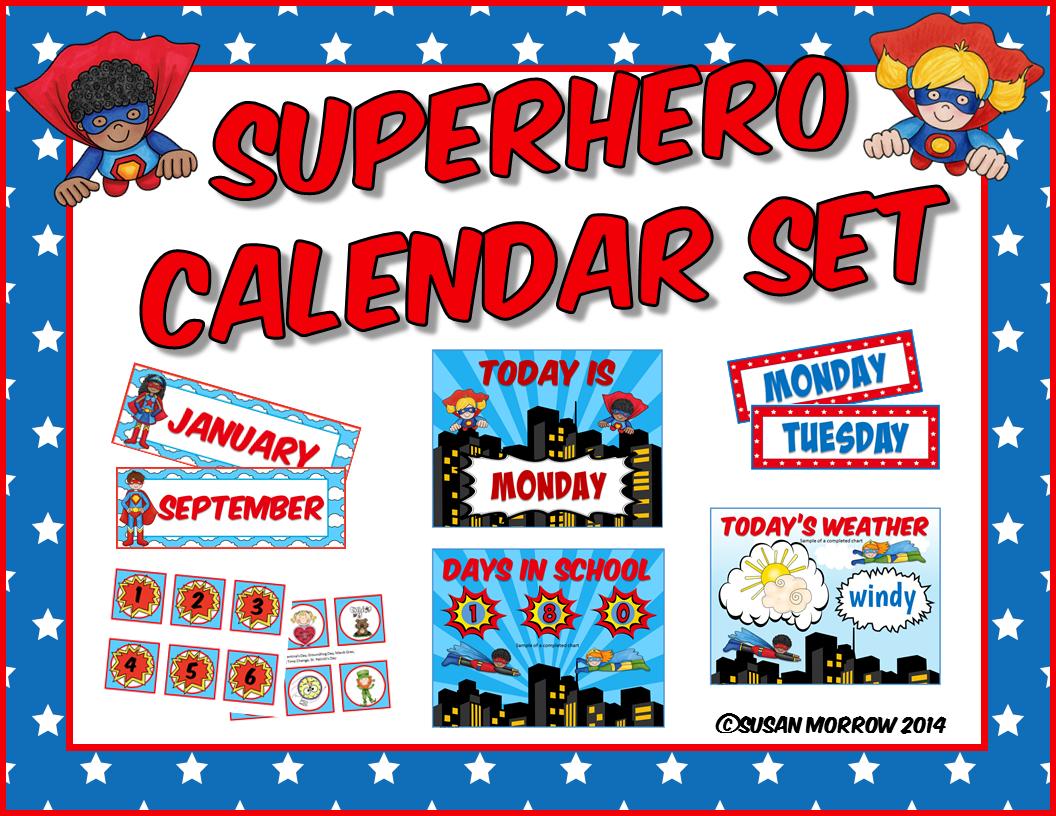 Superhero Classroom Decor Printables : Superhero calendar set theme classroom decor