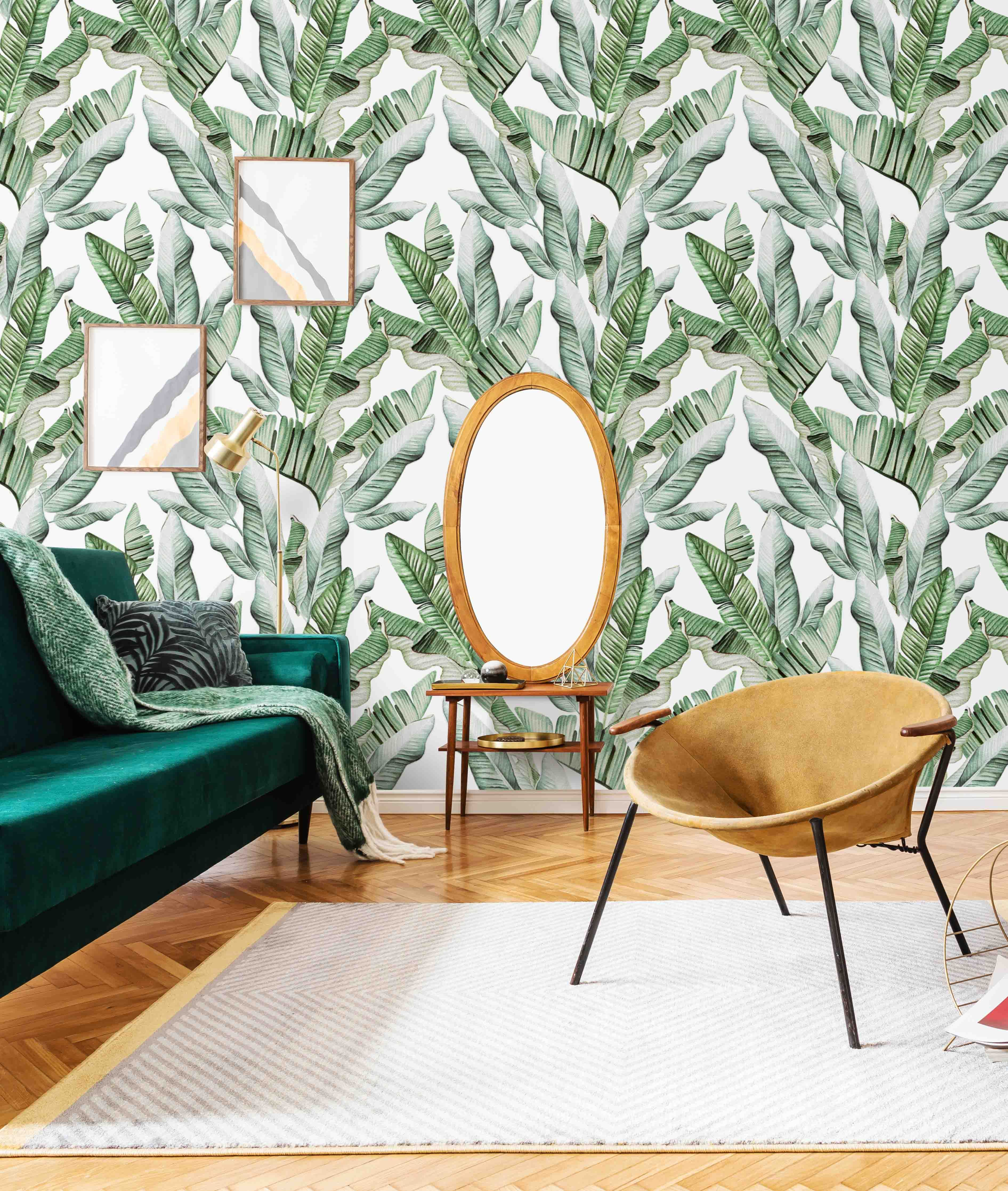 Palms On Beige Wallpaper Removable Peel And Stick Wallpapers Etsy Tropical Wallpaper Palm Leaf Wallpaper Tropical Home Decor